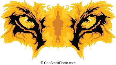 wektor, lew, oczy, maskotka, graficzny
