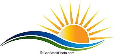 wektor, logo, światło słoneczne, illutration, fale