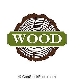wektor, logo, drewno