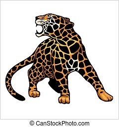 wektor, logo, ikona, ilustracja, jaguar, litera