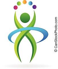 wektor, logo, ikona, stosowność, osoba