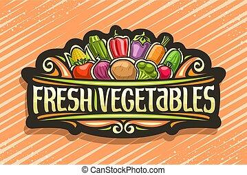 wektor, logo, warzywa, świeży