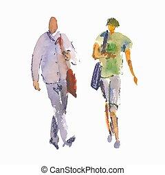 wektor, ludzie., stylizowany, szkice, ilustracja, akwarela
