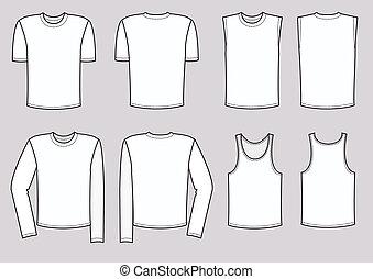 wektor, mężczyźni, odzież, illustration., odzież