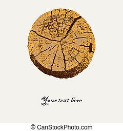 wektor, makro, cięty, drzewo, ilustracja