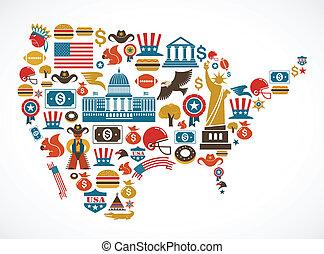 wektor, mapa, dużo, ameryka, ikony