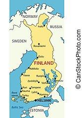 wektor, mapa, finlandia, -, republika