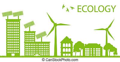 wektor, miasto, pojęcie, eco, ekologia, zielone tło