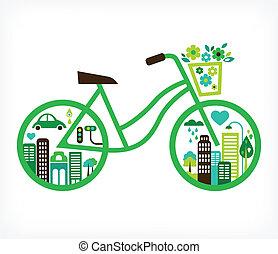 wektor, miasto, -, rower, zielony