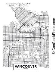wektor, miasto, szczegółowy, mapa, afisz, vancouver