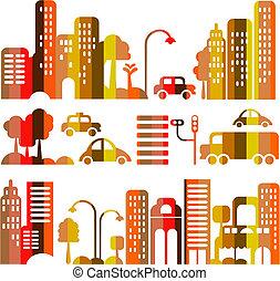wektor, miasto, wieczorny, sprytny, ulica, ilustracja