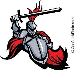 wektor, miecz, tarcza, maskotka, średniowieczny, rycerz