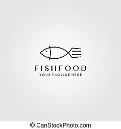 wektor, minimalista, widelec, ilustracja, fish, sztuka, projektować, kreska, symbol, logo