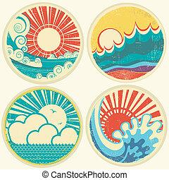 wektor, morze, słońce, waves., motyw morski, ikony, rocznik wina, ilustracja