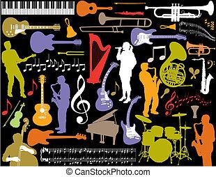 wektor, muzyka, elements.