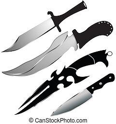 wektor, nóż, komplet, -, szczególny