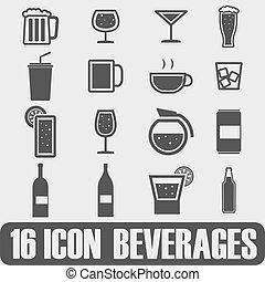 wektor, napój, czarnoskóry, komplet, piwo, ikony