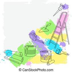wektor, naprawa, zbudowanie, tools., ilustracja