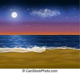 wektor, niebo, wciąż, wschód słońca, realistyczny, plaża, brzeg, it., morning., piaszczysty, raj, księżyc, lustrzany, wcześnie, pod
