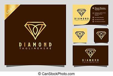 wektor, nowoczesny, projektować, karta, fason, towarzystwo, handlowy, natchnienie, ilustracja, złoty, logo, ikona, diament