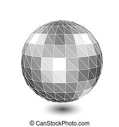 wektor, obiekty, cyfrowy, wireframe, kulisty, 3d