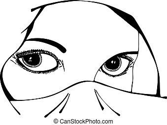 wektor, oczy, babski, welon, pod