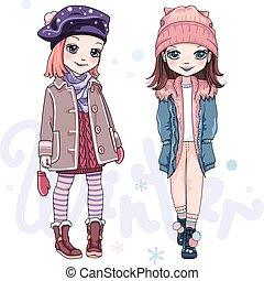 wektor, odzież, dziewczyny, zima, komplet