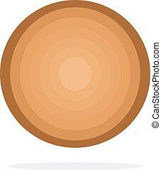 wektor, okrągły, kloc, drewniany, płaski, odizolowany