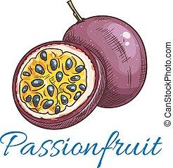 wektor, owoc, namiętność, kolor, ikona, rys