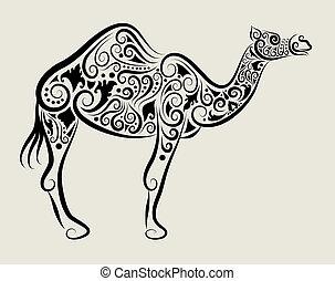 wektor, ozdoba, wielbłąd