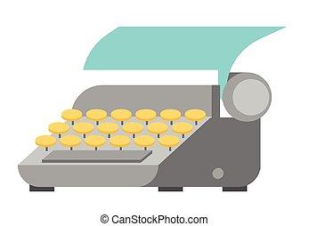 wektor, papier, listek, illustration., maszyna do pisania