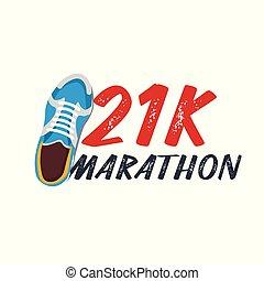wektor, pasaż, illustration., wypadek, sneakers., 21k, maraton