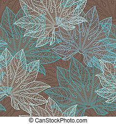 wektor, pattern), (seamless, leaves., ilustracja