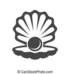 wektor, perła, icon., powłoka, czarnoskóry