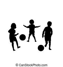 wektor, piłka nożna, dzieci