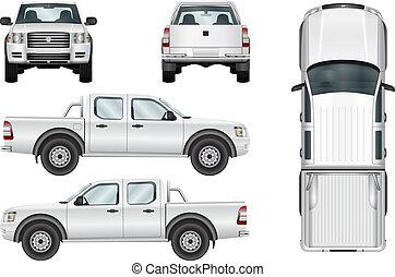 wektor, pickup, białe tło, wózek