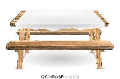 wektor, piknik, drewno, stół, biały, tablecloth