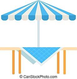 wektor, piknik, ikona, drewniany stół, płaski, parasol, odizolowany