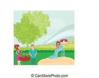 wektor, piknik, ilustracja, rodzina, posiadanie