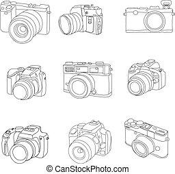 wektor, pociągnięty, komplet, cameras, ręka