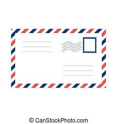 wektor, pocztowy, czysty, koperta, powietrze poczta, envelope.