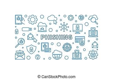 wektor, pojęcie, ilustracja, poziomy, phishing, szkic