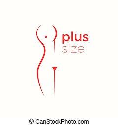 wektor, pojęcie, kobieta, plus, logo, rozmiar