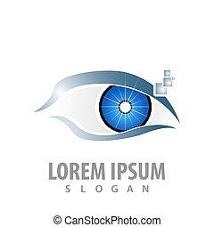 wektor, pojęcie, symbol, element, graficzny, szablon, cyfrowy, logo, eye., design.