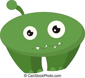 wektor, potwór, oczy, zabawny, rysunek, zielony, albo, kolor, ilustracja, dwa