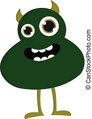 wektor, potwór, tło, rogi, biały, uśmiechanie się, zielony, ilustracja