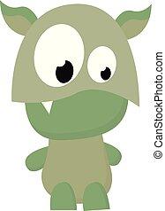 wektor, potwór, zabawny, rysunek, kieł, zielony, albo, kolor, ilustracja, ząb