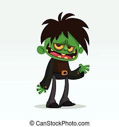 wektor, potwór, zabawny, rysunek, zielony, zombie, halloween, ilustracja