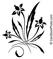 wektor, próbka, biały kwiat, czarnoskóry