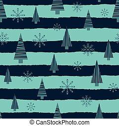 wektor, próbka, seamless, drzewa, boże narodzenie, błękitny, gwiazdy